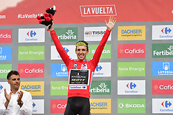 September 15, 2018 - Sant Julia De Loria, SPAIN - Britain's Simon Yates of Mitchelton - Scott, leader of the general, wearing the Rojo jersey, celebrates on the podium after the 20th stage of the 'Vuelta a Espana', Tour of Spain cycling race, 97,3km from Escaldes-Engordany to Sant-Julia de Loria, Spain, Saturday 15 September 2018. ..BELGA PHOTO YUZURU SUNADA FRANCE OUT. (Credit Image: © Yuzuru Sunada/Belga via ZUMA Press)