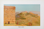 Coloured Illustration of Temple Corner, Jerusalem from the book Palestine illustrated by Sir Richard Temple, 1st Baronet, GCSI, CIE, PC, FRS (8 March 1826 – 15 March 1902) was an administrator in British India and a British politician. Published in London by W.H. Allen & Co. in 1888