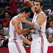 Turkey's Kerem TUNCERI (R) and Ender ASLAN (L) during their Istanbul CUP 2011match played Turkey between New Zeland at Abdi Ipekci Arena in Istanbul, Turkey on 24 August 2011. Photo by TURKPIX