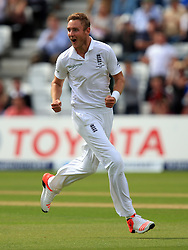 File photo dated 06-08-2015 of England's Stuart Broad celebrates the wicket of Australia's Steve Smith during day one of the Fourth Investec Ashes Test at Trent Bridge, Nottingham.