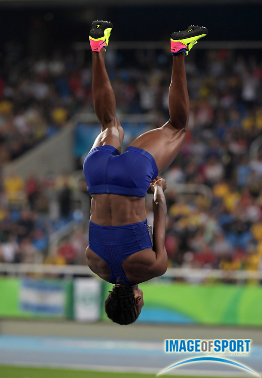 Aug 20, 2016; Rio de Janeiro, Brazil; Chaunte Lowe (USA) celebrates with a back flip after placing fourth in the women's high jump at 6-5½ (1.97m) during the 2016 Rio Olympics at Estadio Olimpico Joao Havelange. <br /> <br /> *