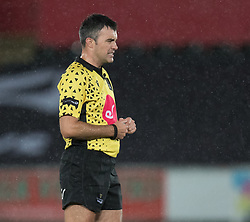 Referee Marius Mitrea<br /> <br /> Photographer Simon King/Replay Images<br /> <br /> Guinness PRO14 Round 6 - Ospreys v Connacht - Saturday 2nd November 2019 - Liberty Stadium - Swansea<br /> <br /> World Copyright © Replay Images . All rights reserved. info@replayimages.co.uk - http://replayimages.co.uk