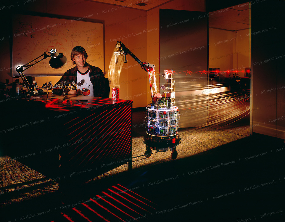 Robot developed by MIT named Herbert, Scans a room with lasers, detects a soda can and then retrieves it to a recycling bin.