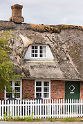 Traditional thatched cottage house with shabby thatch on Fano Island - Fanoe - South Jutland, Denmark