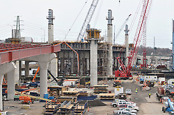 Pearl Harbor Memorial Bridge, New Haven Harbor Crossing Corridor. CT DOT Contract B Photography. Northbound West Approaches toward New, Under Construction, Replacement Bridge Spans.