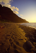 Sunset, Kalalau Beach, Napali Coast, Kauai, Hawaii<br />