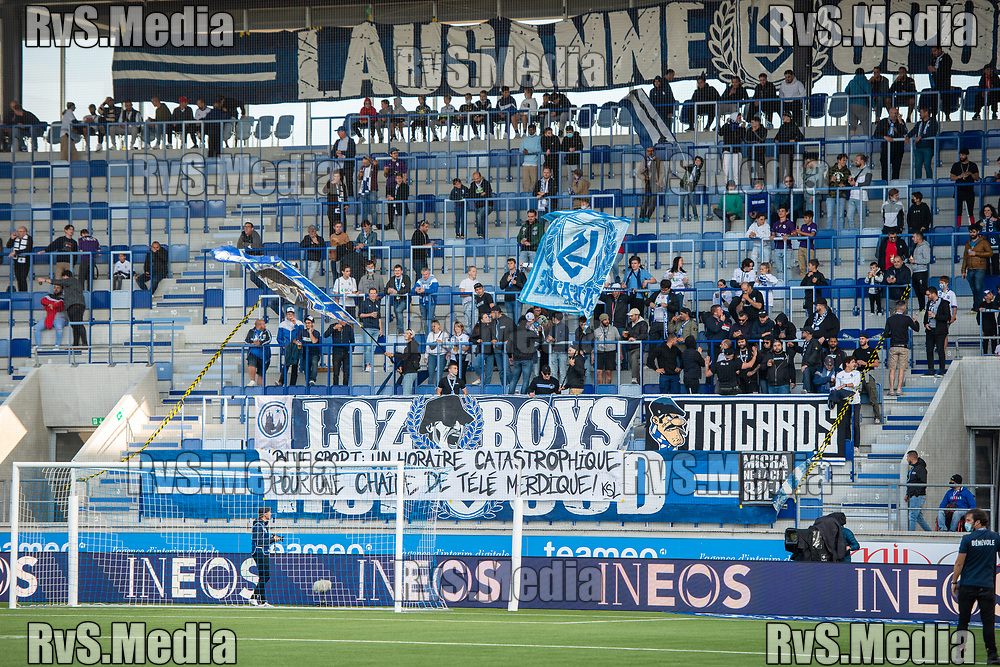 LAUSANNE, SWITZERLAND - SEPTEMBER 22: FC Lausanne-Sport fans with banners during the Swiss Super League match between FC Lausanne-Sport and BSC Young Boys at Stade de la Tuiliere on September 22, 2021 in Lausanne, Switzerland. (Photo by Monika Majer/RvS.Media)