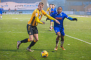 Cambridge United Defender Harry Darling (6) clears the ball from play whilst Colchester United's Cohen Bramall (3) tries to intercept during the EFL Sky Bet League 2 match between Colchester United and Cambridge United at the JobServe Community Stadium, Colchester, England on 16 January 2021.