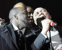 Wyclef Jean performs with Gen. Colin Powell at the BET Inaugural Gala, held at the Mandarin Oriental Hotel in Washington, DC