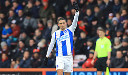 Brighton & Hove Albion's Anthony Knockaert celebrates scoring his side's first goal of the game during the Emirates FA Cup, third round match at the Vitality Stadium, Bournemouth.
