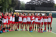 Wales players ahead of the game. Belarus v Wales, EuroHockey 11 Women's championshp 2017 in Cardiff, South Wales , Wednesday 9th August 2017<br /> pic by Andrew Orchard