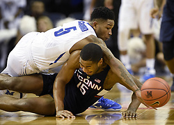 January 5, 2017 - Memphis, Tennessee, U.S. - Connecticut's RODNEY PURVIS  (15) battles with Memphis' MARKEL CRAWFORD (5) for a loose ball that Purvis knocked away from Crawford during the second half at the FedEx Forum. Memphis won, 70-61. (Credit Image: © John Woike/TNS via ZUMA Wire)