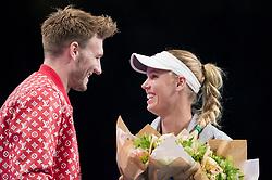 Nicklas Bendtner and Caroline Wozniacki at the 2018 Champions Battle at Parken, Copenhagen, Denmark, 30-04-2018. Photo Credit: Katja Boll/EVENTMEDIA.