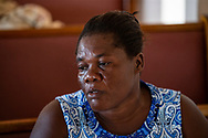 Adeline Pierre looks on during service at First Beraca Baptist Church in Marsh Harbour on Abaco Island on Sunday, September 8, 2019.