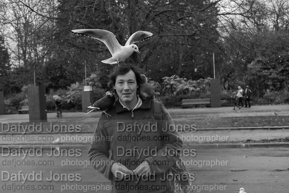 David with birds, Hyde Park, . 12 December 2019