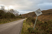 Passing place road sign along a narrow road on the 4th November 2018 in Plockton, Scotland in the United Kingdom.