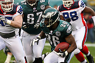 PHILADELPHIA - DECEMBER 30: Running Back Brian Westbrook #36 of the Philadelphia Eagles makes a run during the game against the Buffalo Bills on December 30, 2007 at Lincoln Financial Field in Philadelphia, Pennsylvania. The Eagles won 17-9.