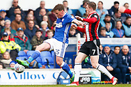 Ipswich Town midfielder Shane McLoughlin (25) Sheffield United midfielder John Lundstram (7) battles for possession during the EFL Sky Bet Championship match between Ipswich Town and Sheffield United at Portman Road, Ipswich, England on 10 March 2018. Picture by Phil Chaplin.