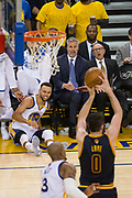 Golden State Warriors guard Stephen Curry (30) reacts after a missed three pointer against the Cleveland Cavaliers during Game 1 of the NBA Finals at Oracle Arena in Oakland, Calif., on June 1, 2017. (Stan Olszewski/Special to S.F. Examiner)