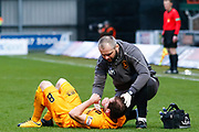 Scott Pittman of Livingston recieves treatment during the Ladbrokes Scottish Premiership match between St Mirren and Livingston at the Simple Digital Arena, Paisley, Scotland on 2nd March 2019.