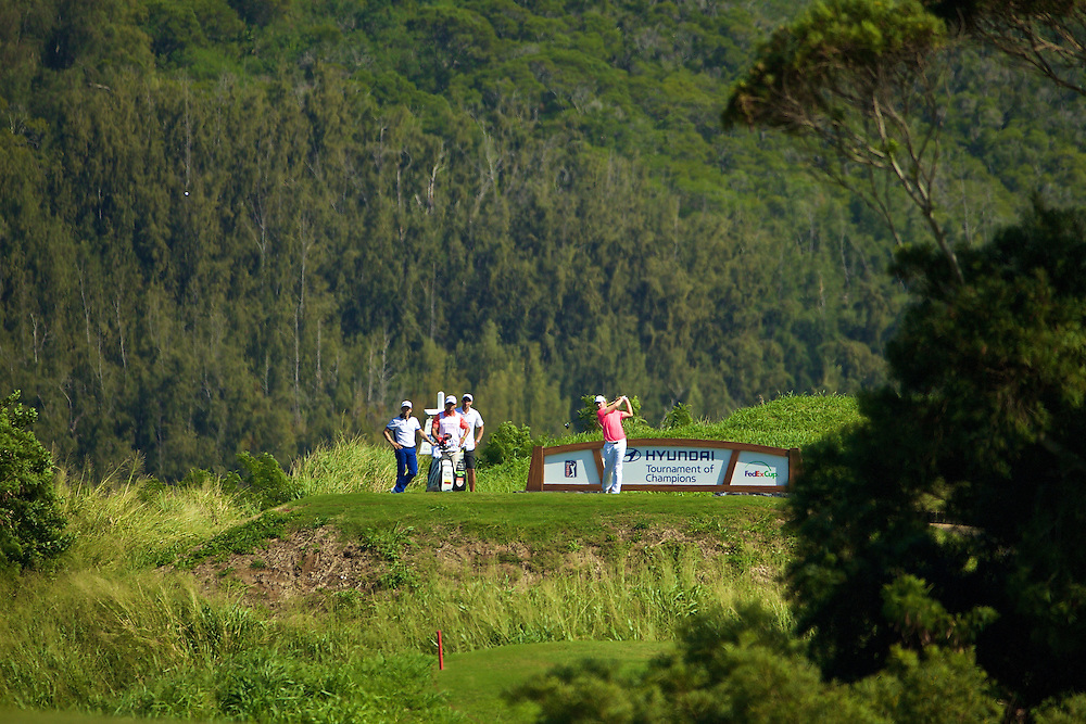 January 11 2015: Seung-Yul Noh tees off on number twelve during the Third Round of the Hyundai Tournament of Champions at Kapalua Plantation Course on Maui, HI.