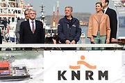 Koningin Máxima heeft in IJmuiden de Nh1816, een nieuw type reddingboot van de Koninklijke Nederlandse Redding Maatschappij (KNRM) gedoopt.<br /> <br /> Queen Máxima has inaugurated in IJmuiden Nh1816, a new type of lifeboat of the Royal Dutch Rescue Organisation (KNRM).<br /> <br /> Op de foto / On the photo:  Koningin Maxima en Roemer Boogaard (R), directeur van de KNRM dopen de boot , de eerste keer gaat het mis.<br /> <br /> Queen Maxima and Roemer Boogaard (R), director of the KNRM inaugurate the boat, the first time it goes wrong.