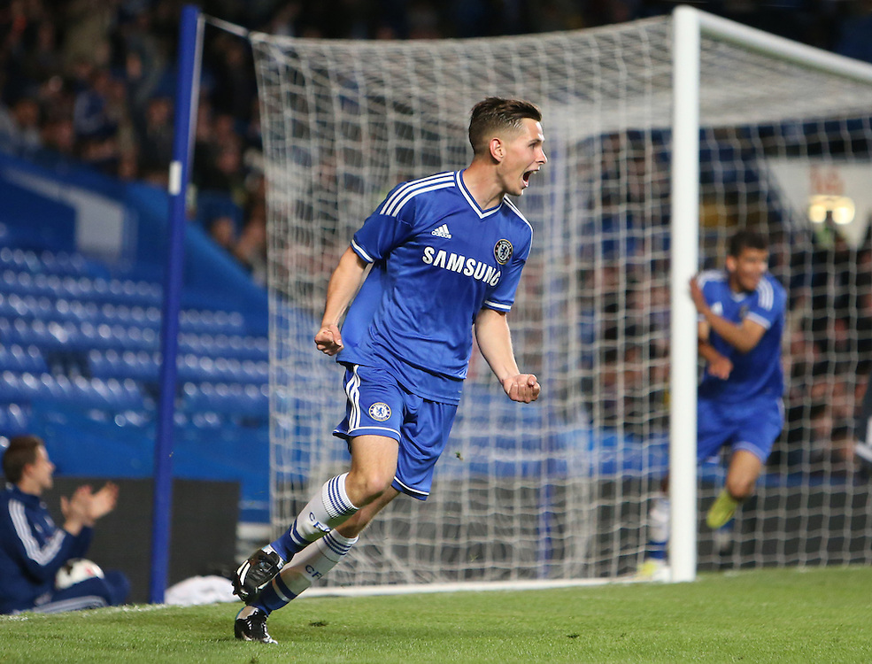Chelsea's Charlie Colkett celebrates his goal<br /> <br /> Photo by Kieran Galvin/CameraSport<br /> <br /> Football - The FA Youth Cup Semi Final 1st Leg - Chelsea Youth v Arsenal Youth - Thursday 10th april 2014 - Stamford Bridge - London<br /> <br /> © CameraSport - 43 Linden Ave. Countesthorpe. Leicester. England. LE8 5PG - Tel: +44 (0) 116 277 4147 - admin@camerasport.com - www.camerasport.com