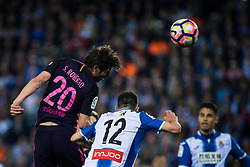 April 29, 2017 - Barcelona, Spain - BARCELONA, SPAIN. APRIL 29TH, 2017 - Sergio Roberto kick the ball with heat during La Liga Santander matchday 35 game between Espanyol and FC Barcelona. RCDE Stadium. Photo by EALO | PHOTO MEDIA EXPRESS (Credit Image: © Ealo/VW Pics via ZUMA Wire/ZUMAPRESS.com)