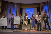 Purchase, NY – 31 October 2014. The team from Mount Vernon High School giving their presentaion. (From left to right: Leslie-Ann Leslie,  Victor Tewfick, Britania Rose, Shadae Leslie, Zainab Floyd, Mikala Bell,  Russell Stewart.) The Business Skills Olympics was founded by the African American Men of Westchester, is sponsored and facilitated by Morgan Stanley, and is open to high school teams in Westchester County.