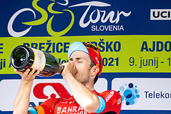 Phil BAUHAUS of BAHRAIN VICTORIOUS celebrateas at trophy ceremony after 1st Stage of 27th Tour of Slovenia 2021 cycling race between Ptuj and Rogaska Slatina (151,5 km), on June 9, 2021 in Slovenia. Photo by Matic Klansek Velej / Sportida