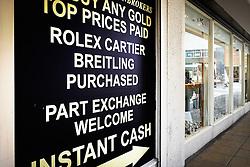 A sign outside a pawnbroking shop. Basildon Essex