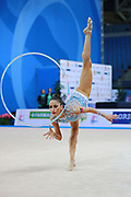 Vladinova Neviana during qualifying at ribbon in Pesaro World Cup 01 April 2016. Neviana is a gymnast from Bulgaria. She is born in Pleven February 23, 1994. Her dream is to win a medal at the 2020 Olympic Games in Tokyo.