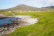 Atlantic coastline rocky headlands and small pebble bays at Borgh, Barra, Outer Hebrides, Scotland, UK