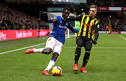 """Everton's Idrissa Gueye (left) and Everton's Yannick Bolasie (right) battle for the ball during the Premier League match at Vicarage Road, Watford. PRESS ASSOCIATION Photo. Picture date: Saturday February 9, 2019. See PA story SOCCER Watford. Photo credit should read: Nigel French/PA Wire. RESTRICTIONS: EDITORIAL USE ONLY No use with unauthorised audio, video, data, fixture lists, club/league logos or """"live"""" services. Online in-match use limited to 120 images, no video emulation. No use in betting, games or single club/league/player publications."""