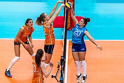 03-10-2018 NED: World Championship Volleyball Women day 5, Yokohama<br /> Argentina - Netherlands 0-3 / Anne Buijs #11 of Netherlands, Nicole Koolhaas #22 of Netherlands, Valentina Galiano #20 of Argentina