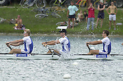 Munich, GERMANY 2001 FISA World cup Regatta.GBR M4- winning the final.left to right Richard Dunn, Edward Coode, Stephen Williams Rowing Course, Olympic Regatta Rowing Course, Munich, Germany [Mandatory Credit Peter Spurrier Intersport Images] 20010714 FISA World Cup. Munich, GERMANY