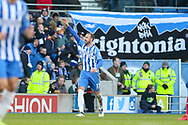 Brighton and Hove Albion forward Glenn Murray (17) celebrates his goal 2-0 during the Premier League match between Brighton and Hove Albion and Swansea City at the American Express Community Stadium, Brighton and Hove, England on 24 February 2018. Picture by Phil Duncan.