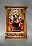 Gothic altarpiece of Madonna and Child with St Peter and Paul by Vicenzo Frediani, circa 1490, tempera and gold leaf on wood.  National Museum of Catalan Art, Barcelona, Spain, inv no: MNAC  64978. Against a grey art background. . .<br /> <br /> If you prefer you can also buy from our ALAMY PHOTO LIBRARY  Collection visit : https://www.alamy.com/portfolio/paul-williams-funkystock/gothic-art-antiquities.html  Type -     MANAC    - into the LOWER SEARCH WITHIN GALLERY box. Refine search by adding background colour, place, museum etc<br /> <br /> Visit our MEDIEVAL GOTHIC ART PHOTO COLLECTIONS for more   photos  to download or buy as prints https://funkystock.photoshelter.com/gallery-collection/Medieval-Gothic-Art-Antiquities-Historic-Sites-Pictures-Images-of/C0000gZ8POl_DCqE