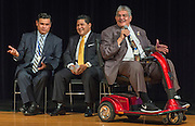 Houston ISD Board of Trustees president Manuel Rodriguez comments during a stop of Superintendent Richard Carranza's Listen & Learn Tour of the district at Chavez High School, September 15, 2016.