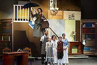 Mary Poppins played by Kelli Powers makes her arrival to the Banks' home during dress rehearsal Monday evening with The Streetcar Company Theater at Interlakes High School auditorium.  (Karen Bobotas/for the Laconia Daily Sun)
