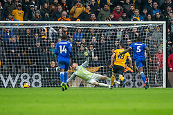 January 19, 2019 - Wolverhampton, England, United Kingdom - Diogo Jota of Wolverhampton Wanderers scores the winner and completes his hatrick  during the Premier League match between Wolverhampton Wanderers and Leicester City at Molineux, Wolverhampton, UK. On Saturday 19th January 2019. (Credit Image: © Mark Fletcher/NurPhoto via ZUMA Press)