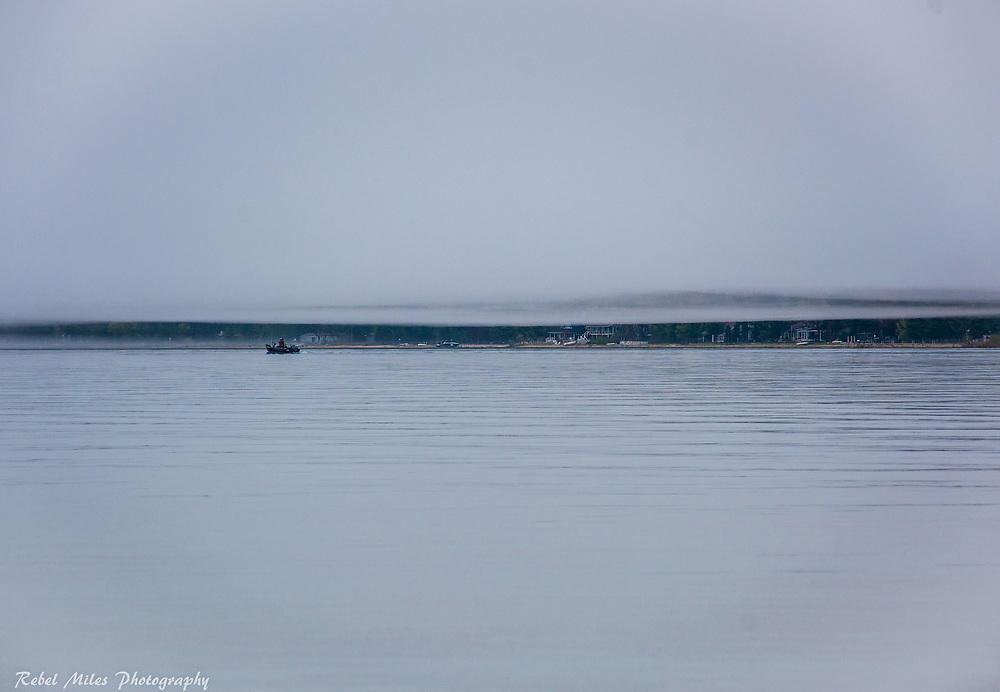 Heavy Fog Settles Over Lake Michigan