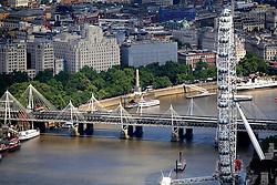 UK ENGLAND LONDON 22JUL08 - Aerial view of the London Eye by the river Thames during zeppelin flight over the city...jre/Photo by Jiri Rezac..© Jiri Rezac 2008..Contact: +44 (0) 7050 110 417.Mobile:  +44 (0) 7801 337 683.Office:  +44 (0) 20 8968 9635..Email:   jiri@jirirezac.com.Web:    www.jirirezac.com..© All images Jiri Rezac 2008 - All rights reserved.