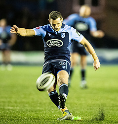 Jason Tovey of Cardiff Blues kicks a penalty <br /> <br /> Photographer Simon King/Replay Images<br /> <br /> Guinness PRO14 Round 9 - Cardiff Blues v Dragons - Thursday 26th December 2019 - Cardiff Arms Park - Cardiff<br /> <br /> World Copyright © Replay Images . All rights reserved. info@replayimages.co.uk - http://replayimages.co.uk