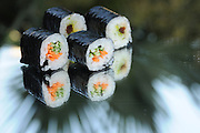 vegetarian Sushi Maki with carrot and cucumber