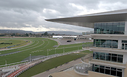 An aerial view of the finish straight and bend ahead of The Festival meeting at Cheltenham Racecourse.
