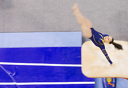 Tjasa Kysselef of Slovenia competes in the Vault during Final day 1 of Artistic Gymnastics World Cup Ljubljana, on April 27, 2013, in Hala Tivoli, Ljubljana, Slovenia. (Photo By Vid Ponikvar / Sportida.com)