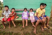 Curious school children in the Indigenous Ngäbe Bugle village of Salt Creek, Panama.