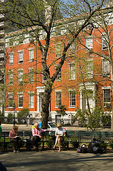 New York City, New York: People enjoying spring sunshine in Washington Square in Greenwich Village  .Photo #: ny315-15106  .Photo copyright Lee Foster, www.fostertravel.com, lee@fostertravel.com, 510-549-2202.