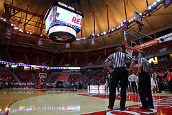 29 December 2016: Brad Ferrie and Ray Natili during an NCAA  MVC (Missouri Valley conference) mens basketball game between the Evansville Purple Aces the Illinois State Redbirds in  Redbird Arena, Normal IL